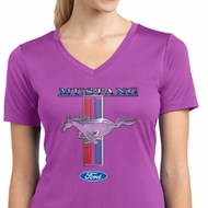 Ford Mustang Ladies Shirt Mustang Stripe Moisture Wicking V-neck Tee