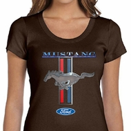 Ford Mustang Ladies Shirt Mustang Stripe Scoop Neck Tee T-Shirt
