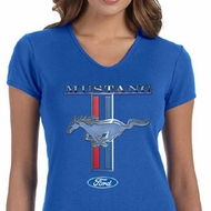 Ford Mustang Ladies Shirt Mustang Stripe V-neck Tee T-Shirt