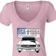 Ford Mustang Ladies Shirt USA 1964 Country Burnout V-neck Tee T-Shirt