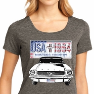 Ford Mustang Ladies Shirt USA 1964 Country Lace Back Tee T-Shirt