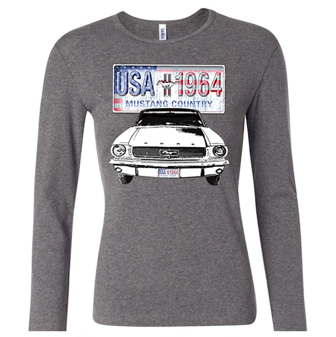 ford mustang ladies shirt usa 1964 country long sleeve tee. Black Bedroom Furniture Sets. Home Design Ideas
