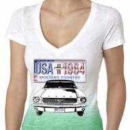 Ford Mustang Ladies Shirt USA 1964 Country Ombre Burnout Tee T-Shirt