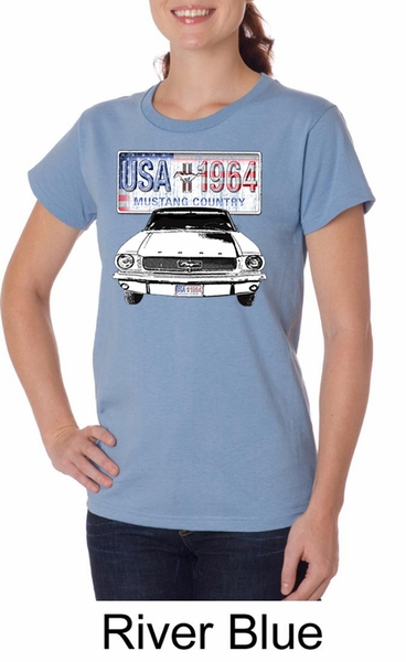 ford mustang ladies shirt usa 1964 country organic tee t. Black Bedroom Furniture Sets. Home Design Ideas