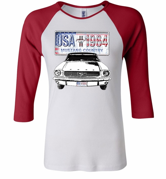 ford mustang ladies shirt usa 1964 country raglan tee t. Black Bedroom Furniture Sets. Home Design Ideas