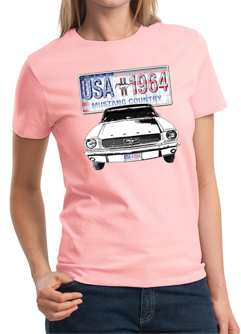 ford mustang ladies shirt usa 1964 country tee t shirt. Black Bedroom Furniture Sets. Home Design Ideas