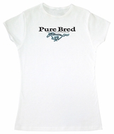 Ford Mustang Ladies T-Shirt - Pure Bred Adult White Tee Shirt