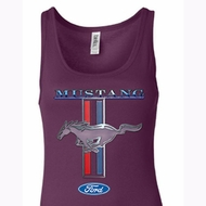 Ford Mustang Ladies Tanktop Mustang Stripe Longer Length Tank Top