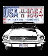 Ford Mustang Long Sleeve Shirt - USA 1964 Country Adult Orange T-Shirt