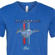 Ford Mustang Mens Shirt Mustang Stripe Tri Blend V-neck Tee T-Shirt