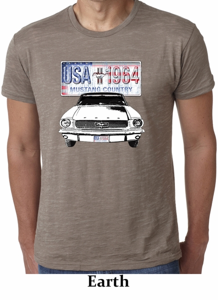 ford mustang mens shirt usa 1964 country burnout tee t. Black Bedroom Furniture Sets. Home Design Ideas