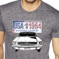 Ford Mustang Mens Shirt USA 1964 Country Burnout Tee T-Shirt