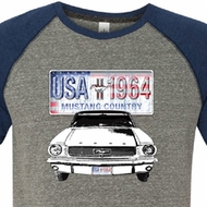Ford Mustang Mens Shirt USA 1964 Country Tri Blend Tee T-Shirt