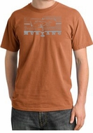 Ford Mustang Pigment Dyed T-Shirt Honeycomb Grille Burnt Orange Tee