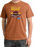 Ford Mustang Pigment Dyed T-Shirt - Who's The Boss 302 Burnt Orange