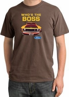 Ford Mustang Pigment Dyed T-Shirt - Who's The Boss 302 Chestnut Tee