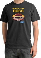Ford Mustang Pigment Dyed T-Shirt - Who's The Boss 302 Dark Smoke Tee