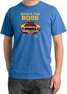 Ford Mustang Pigment Dyed T-Shirt - Who's The Boss 302 Medium Blue Tee