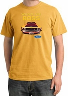 Ford Mustang Pigment Dyed T-Shirt - Who's The Boss 302 Mustard Tee
