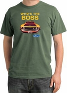 Ford Mustang Pigment Dyed T-Shirt - Who's The Boss 302 Olive Green Tee