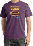 Ford Mustang Pigment Dyed T-Shirt - Who's The Boss 302 Plum Tee