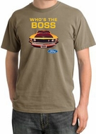 Ford Mustang Pigment Dyed T-Shirt - Who's The Boss 302 Sandstone Tee