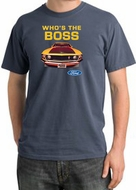 Ford Mustang Pigment Dyed T-Shirt - Who's The Boss 302 Scotland Blue
