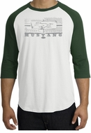 Ford Mustang Raglan T-Shirt Legend Honeycomb Grille White/Forest Shirt