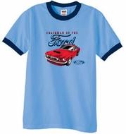 Ford Mustang Ringer T-Shirt - Chairman Of The Ford Carolina Blue/Navy