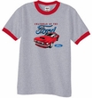 Ford Mustang Ringer T-Shirt - Chairman Of The Ford Heather Grey/Red