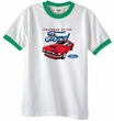 Ford Mustang Ringer T-Shirt - Chairman Of The Ford White/Kelly Green