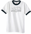 Ford Mustang Ringer T-Shirt Legend Honeycomb Grille White/Black Shirt