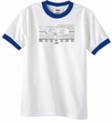 Ford Mustang Ringer T-Shirt Legend Honeycomb Grille White/Royal Shirt