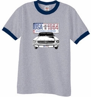 Ford Mustang Ringer T-Shirt USA 1964 Country Heather Grey/Navy Shirt