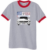 Ford Mustang Ringer T-Shirt USA 1964 Country Heather Grey/Red Shirt