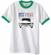 Ford Mustang Ringer T-Shirt USA 1964 Country White/Kelly Green Shirt