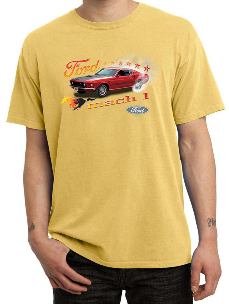 ford mustang shirt 1969 mach 1 mens pigment dyed tee t. Black Bedroom Furniture Sets. Home Design Ideas