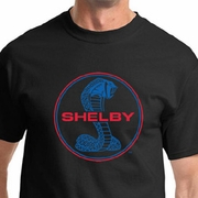 Ford Mustang Shirt Shelby Cobra Blue and Red Logo