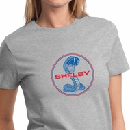 Ford Mustang Shirt Shelby Cobra Blue & Red Ladies Tee T-Shirt