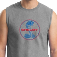 Ford Mustang Shirt Shelby Cobra Blue & Red Mens Muscle Tee T-Shirt