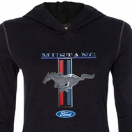 Ford Mustang Shirt Stripe Ladies Tri Blend Hoodie Tee T-Shirt