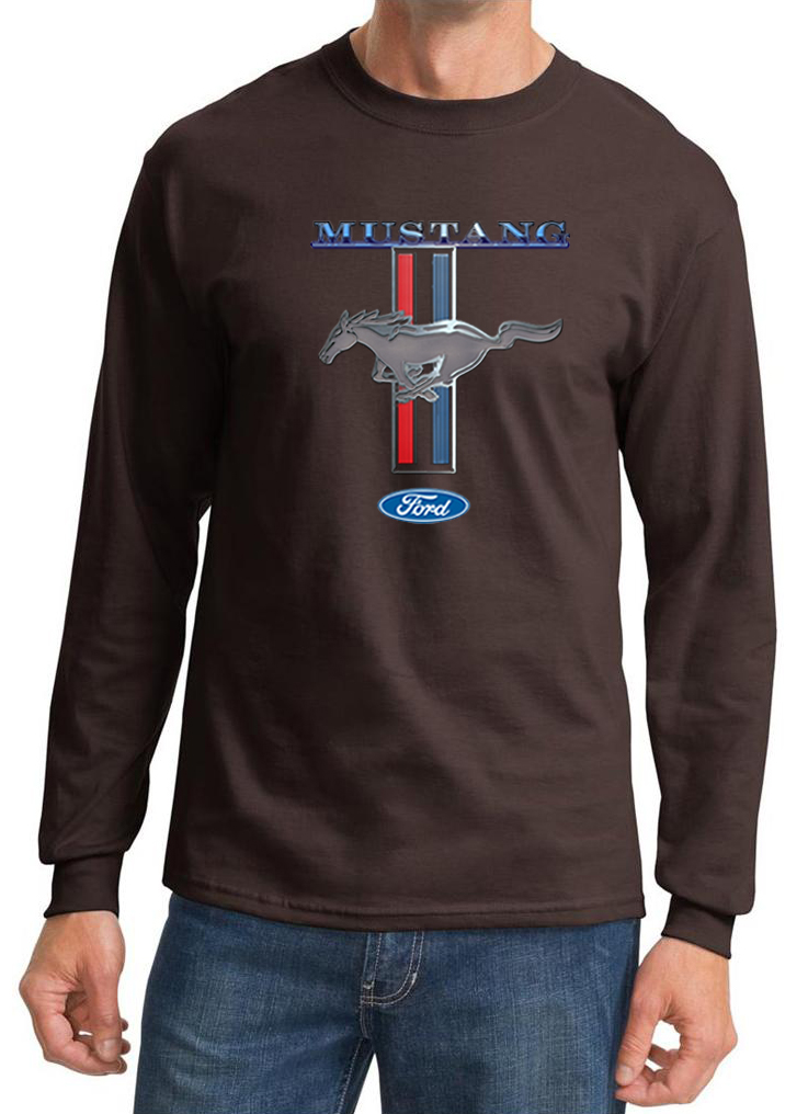 Ford mustang shirt stripe mens long sleeve tee t shirt for Cool long sleeve t shirts for men