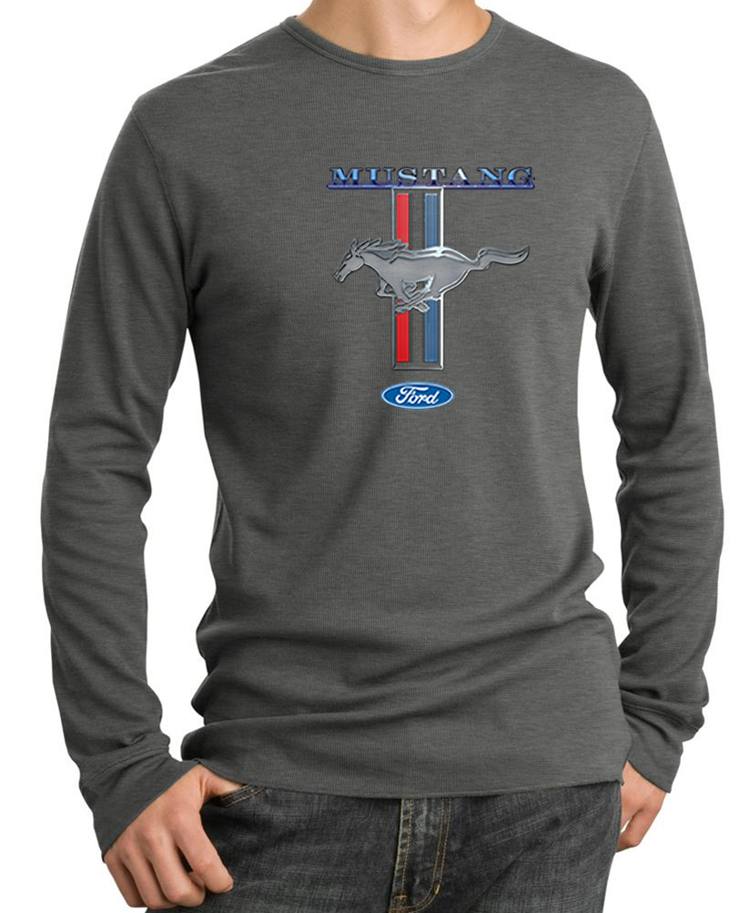 Ford Mustang Shirt Stripe Mens Long Sleeve Thermal Tee T: thermal t shirt long sleeve