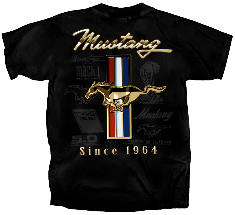 ford mustang t shirt gold tribar gt ford shirt mens ford mustang shirts. Black Bedroom Furniture Sets. Home Design Ideas