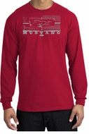Ford Mustang T-Shirt Legend Honeycomb Grille Long Sleeve Shirt Red
