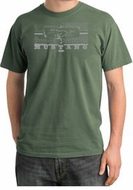Ford Mustang T-Shirt Legend Honeycomb Grille Pigment Dyed Tee Olive