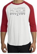 Ford Mustang T-Shirt Legend Honeycomb Grille Raglan Tee White/Red