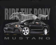 Ford Mustang T-Shirt - Ride the Pony Adult Black Tee