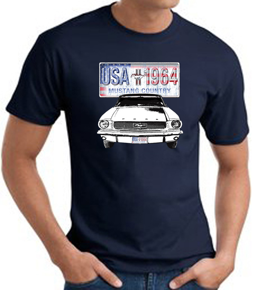 ford mustang t shirt usa 1964 country adult navy tee. Black Bedroom Furniture Sets. Home Design Ideas