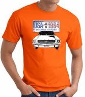 Ford Mustang T-Shirt - USA 1964 Country Adult Orange Tee Shirt